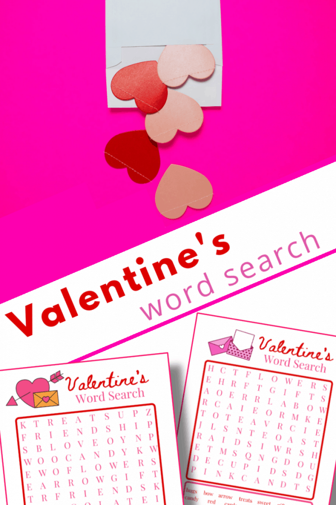 top image - paper hearts spilling out of envelope on pink background, bottom image - two Valentine's word search pages