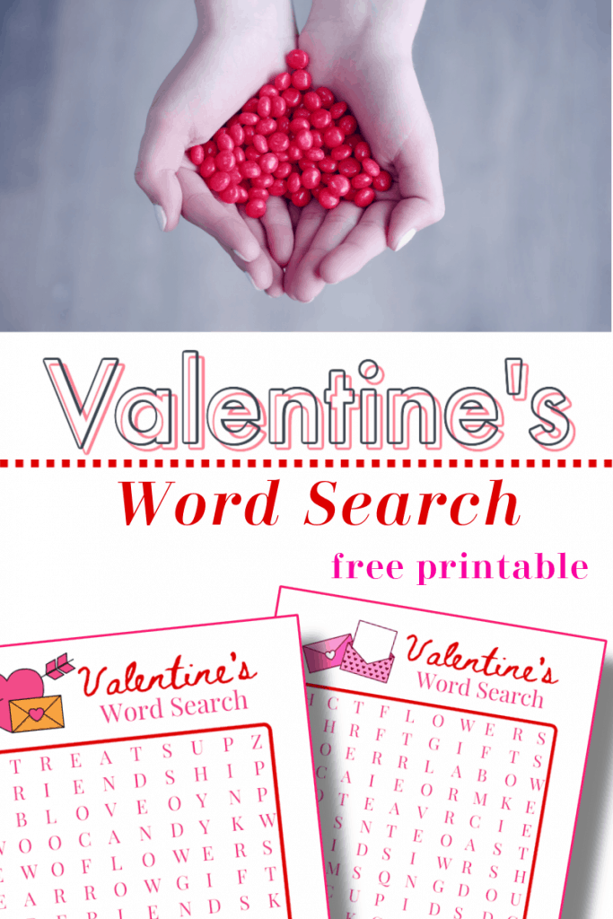 hands holding red heart candy, bottom image - 2 Valentine's word search sheets