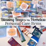 pile of blessing bags with individual personal care items in front