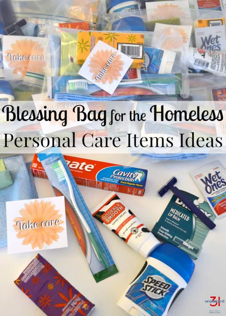 pile of filled blessing bags with individual personal care items in front