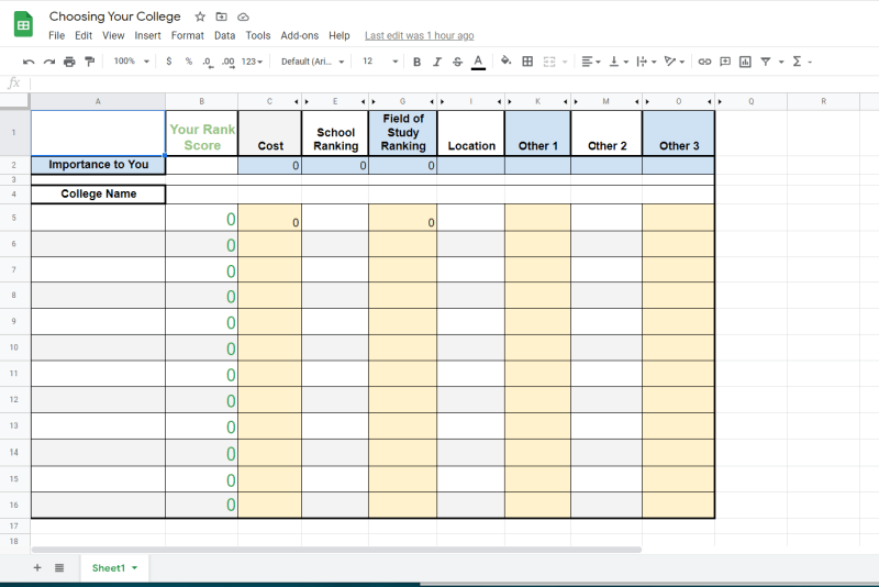 choose your college spreadsheet with blue, yellow and grey