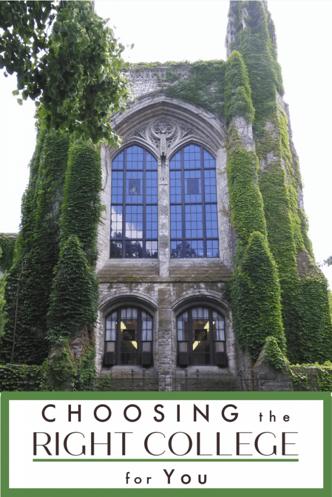ivy covered stone tower of building with title text reading Choosing the Right College for You