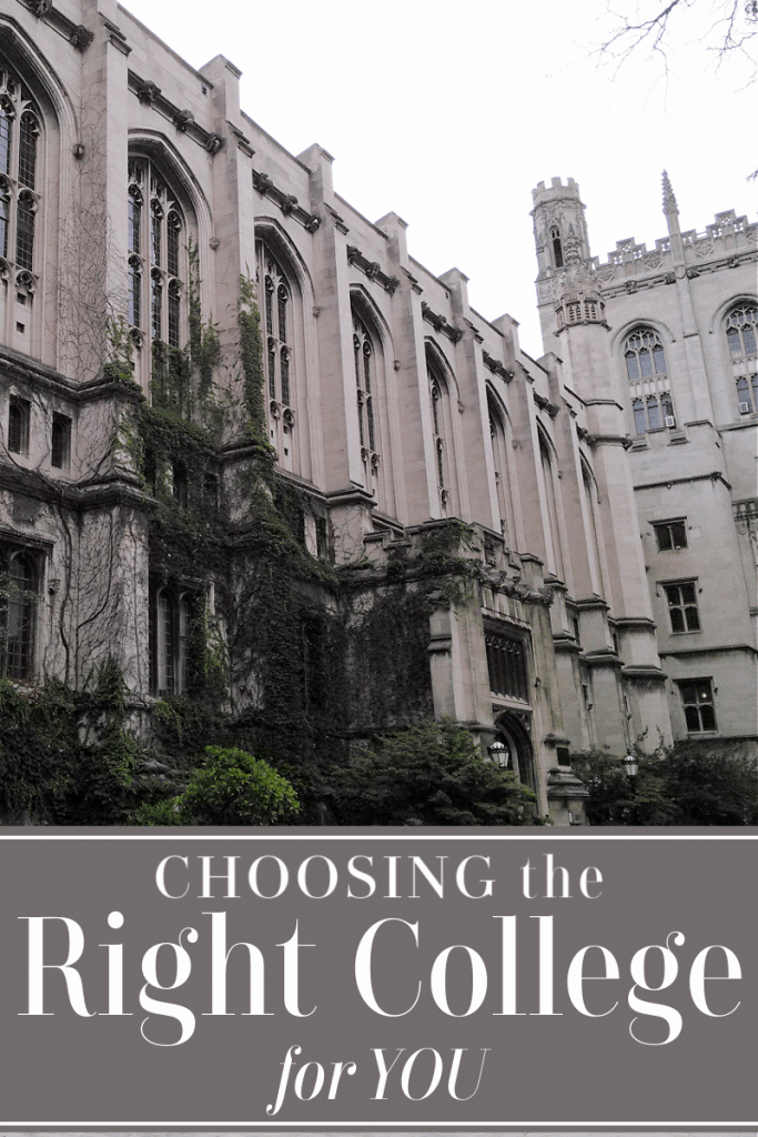 imposing stone college building with arched windows and tower with title text reading Choosing the Right College for You