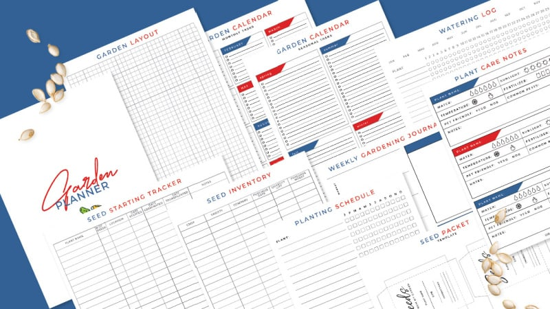 11 pages of white, red and blue garden planner