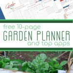 top - pages of printable garden planner, bottom - green leafy plants in garden bed