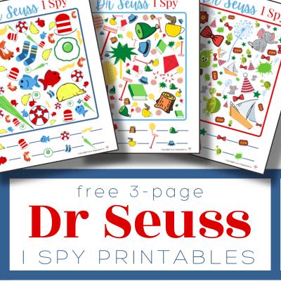 3 colorful I Spy Dr Seuss sheets