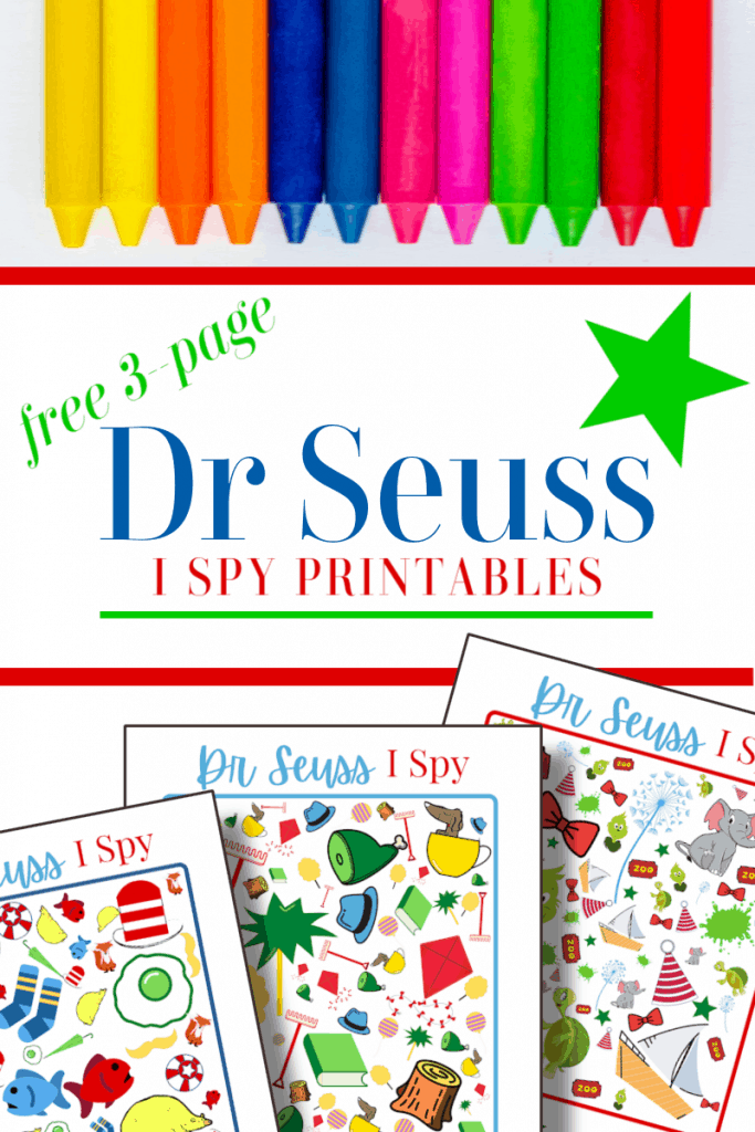 top image - row of crayons, bottom image - 3 colorful I Spy sheets with title text reading free 3-page Dr Seuss I Spy Printables