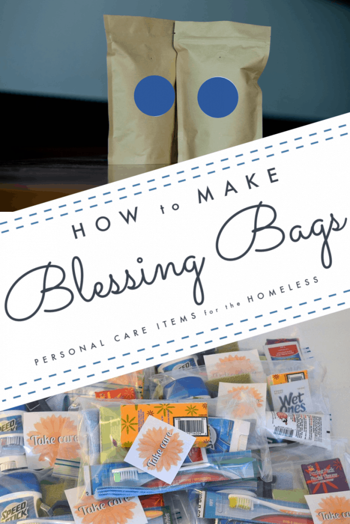 top - 2 brown bags with blue labels, bottom - pile of clear blessing bags