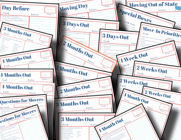 pile of red, white and blue moving checklists
