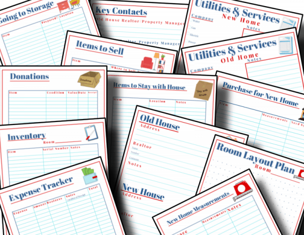 close up of red, white and blue moving checklists