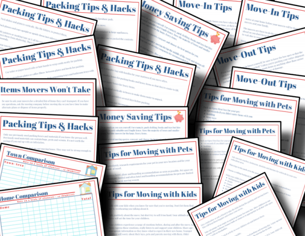 red, white and blue moving checklists