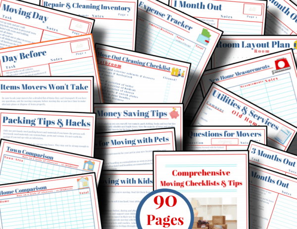 red, white and blue moving checklists with image of cover