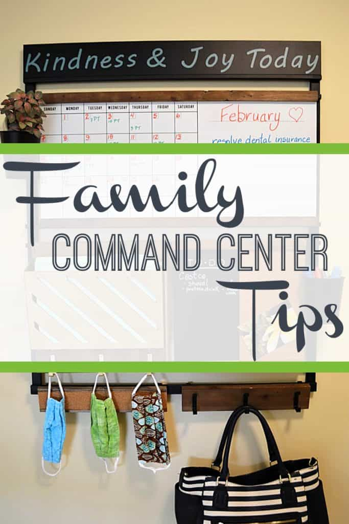 family command center with purse and masks on hooks with title text overlay reading Family Command Center Tips