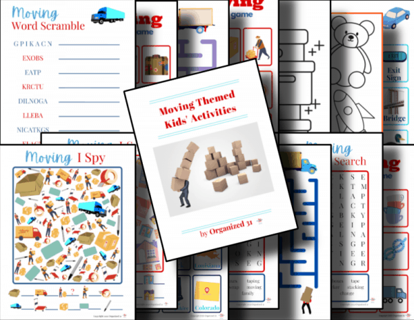 colorful moving themed kids activity sheets