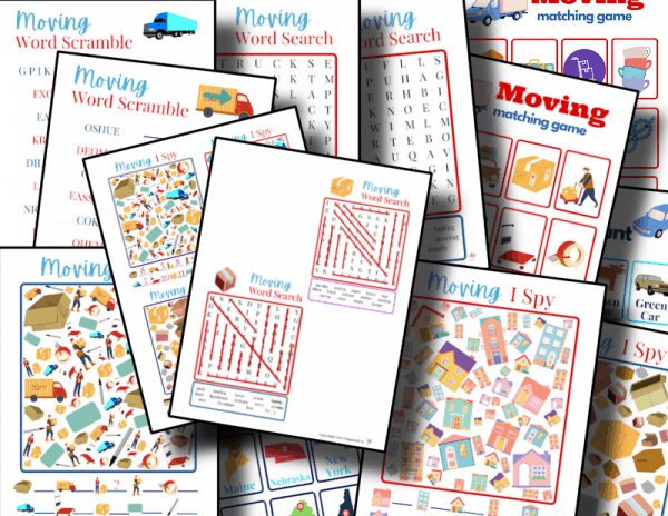 close up of colorful moving themed kids activity sheets