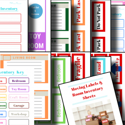 colorful moving labels and inventory sheets