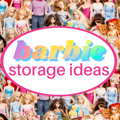 pile of Barbie dolls with oval and text overlay