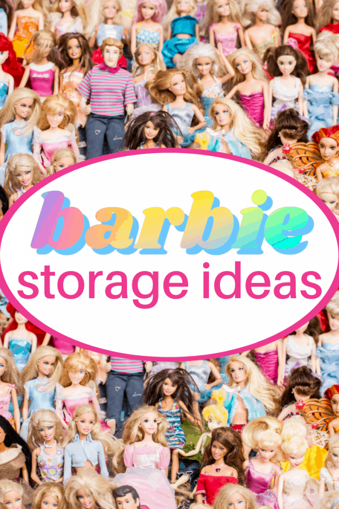 pile of colorful Barbies with text overlays