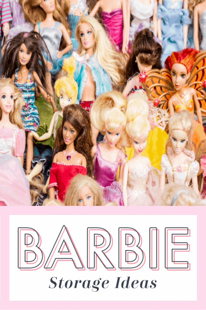 multitude of Barbies in colorful clothing with text overlay reading Barbie Storage Ideas