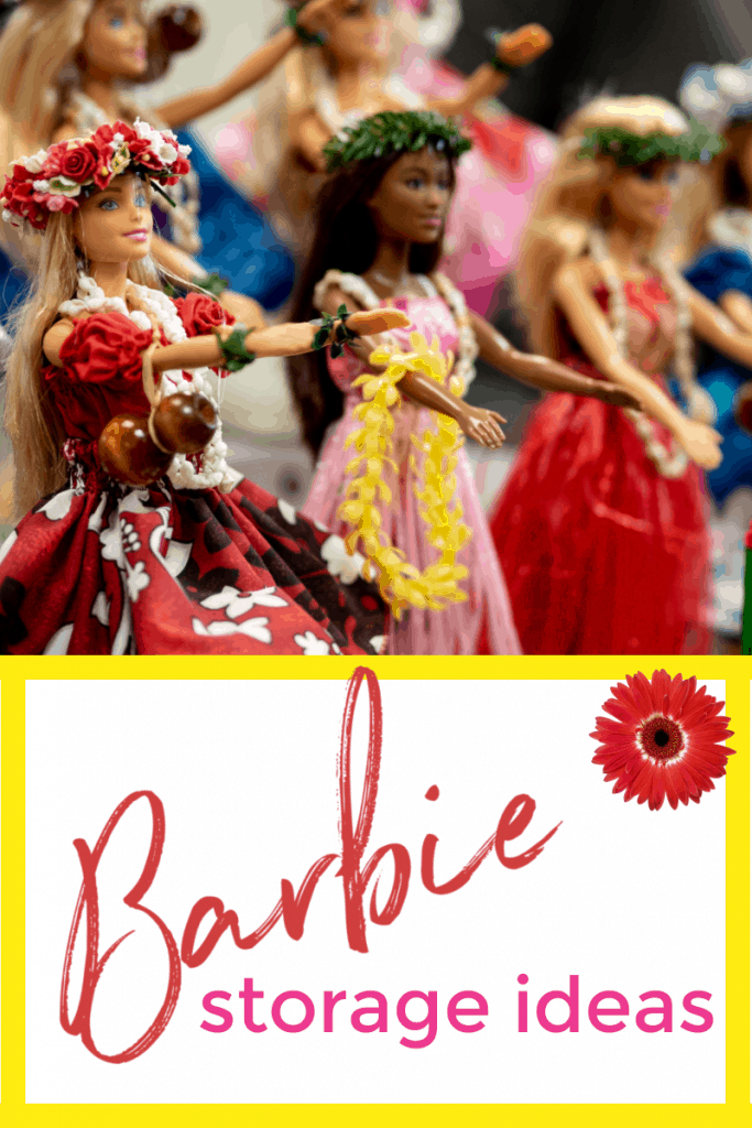 Barbies lined up with arms extended with text overlay