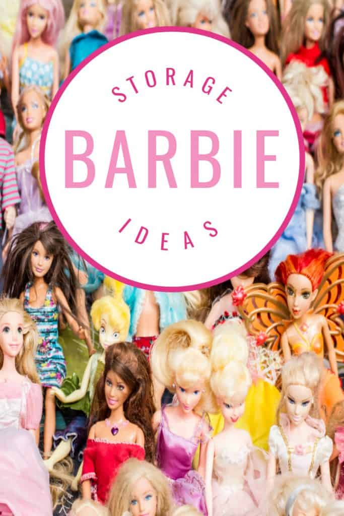 pile of Barbies lined up with circle and text overlay
