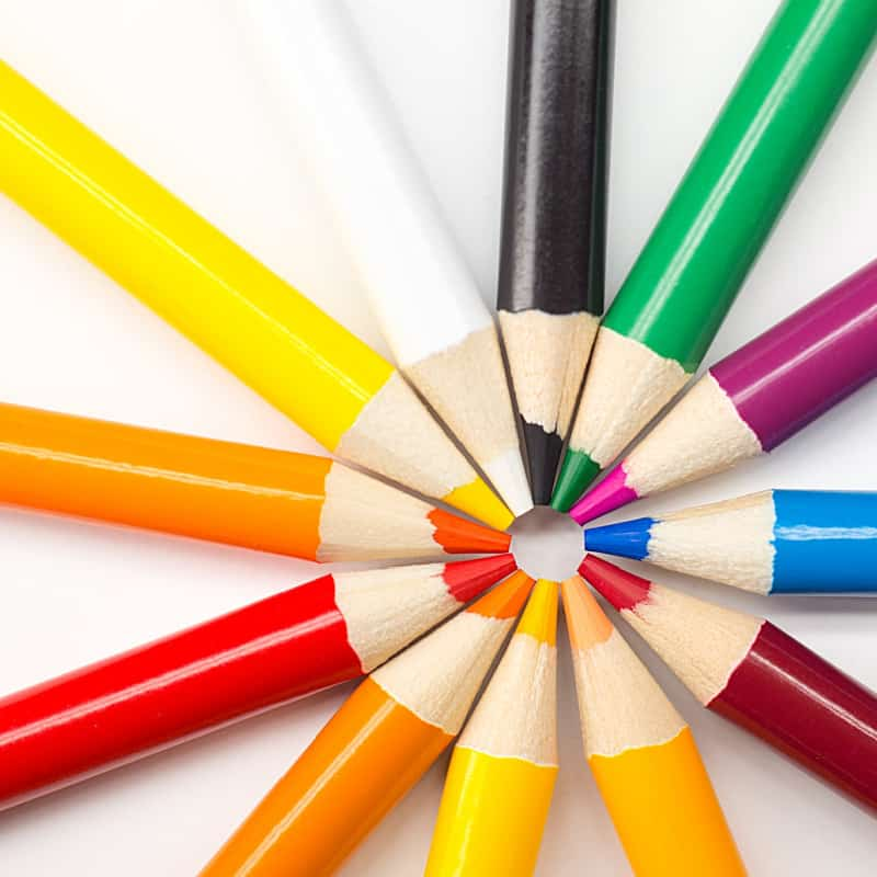 colored pencils in a circle with points in the middle