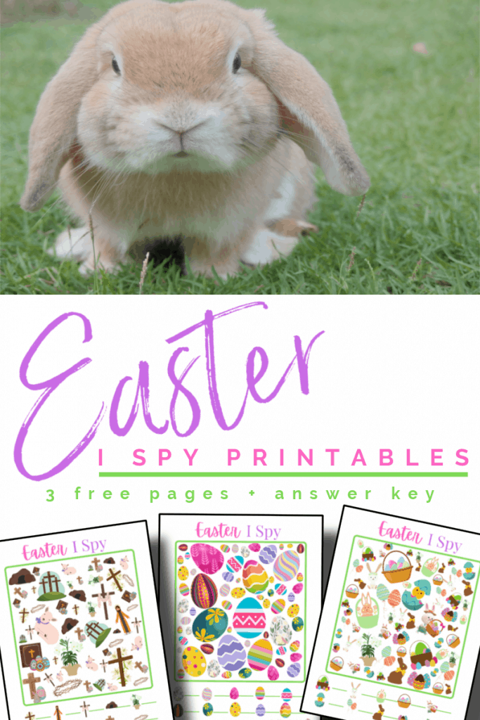 top image - light brown bunny, bottom image - 3 brightly colored Easter game sheets with title text reading Easter I Spy Printable