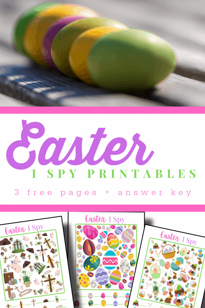 top image - row of dyed eggs, bottom image - 3 colorrul I Spy Printable sheets
