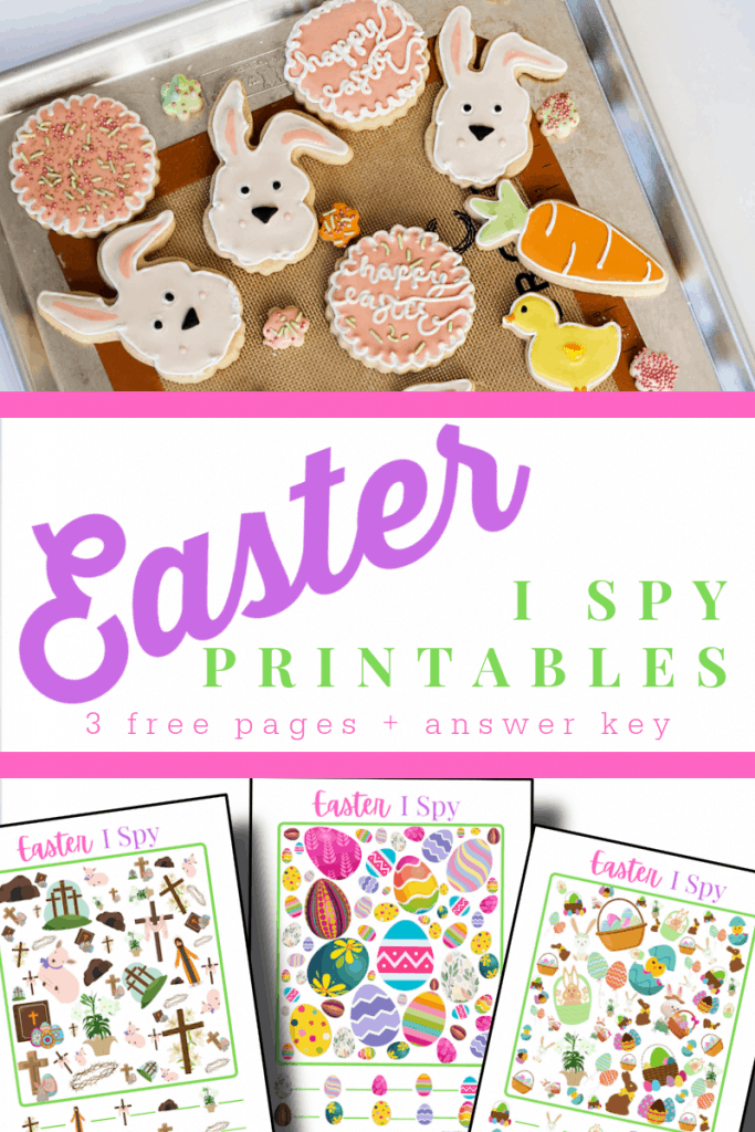 top image - tray of Easter cookies, bottom image - 3 colorful I Spy printables