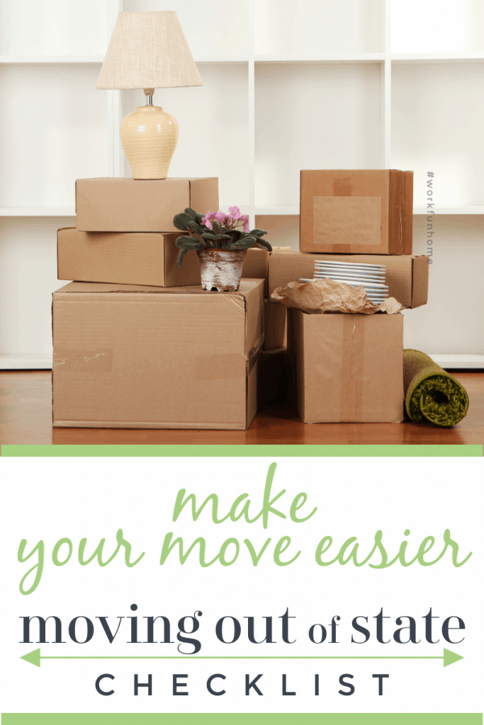 Stack of moving boxes in front of white book case with title text reading Make your move easier Moving Out of State Checklist