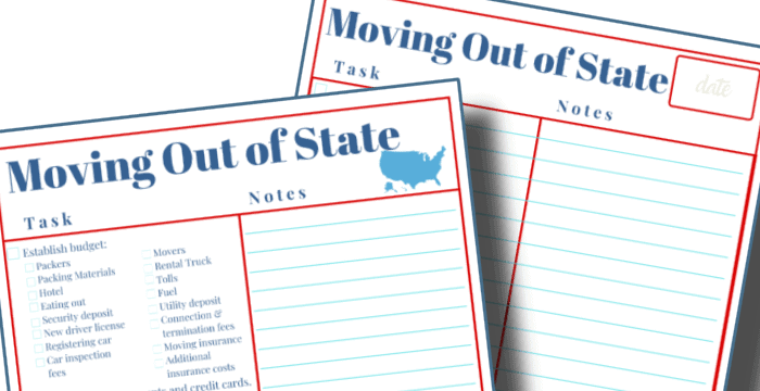 close up of 2 red and blue moving out of state checklists