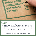 moving box with green writing and hand checking off box
