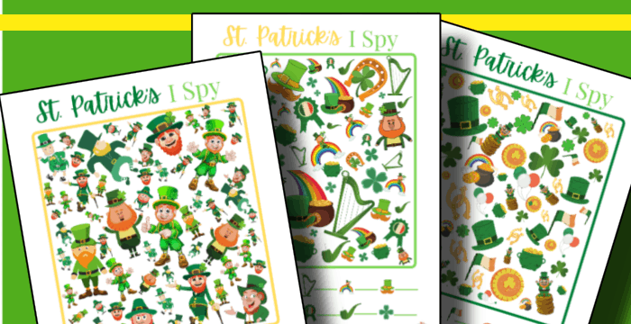 3 colorful St. Patrick's Day themed I Spy game sheets
