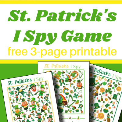 3 colorful I Spy game sheets with St. Patrick's Day themed items