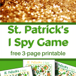 top image - pile of gold, bottom image - 3 brightly colored I Spy game sheets for St. Patrick's Day