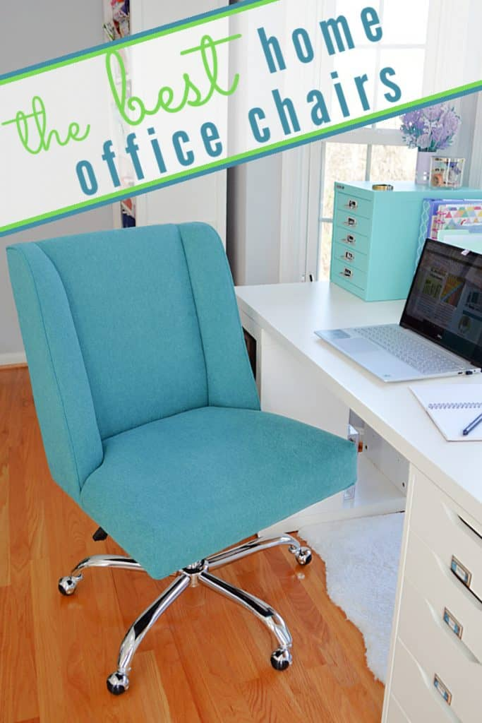 blue home office desk chair by white desk