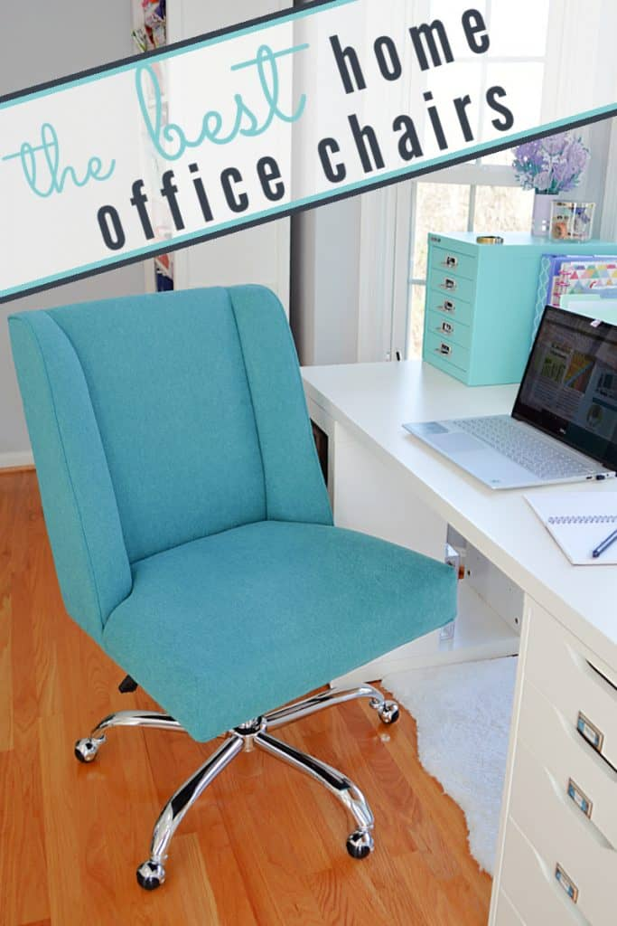 blue fabric desk chair by white desk with title text reading The Best Home Office Chairs