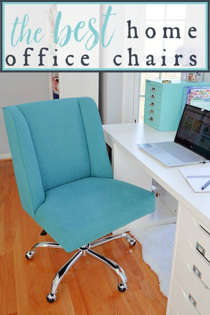 close up of blue fabric home office desk chair