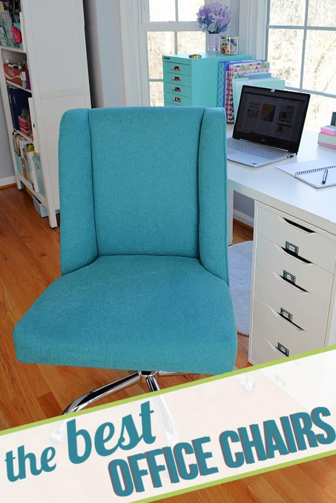 close up of blue fabric desk chair with title text overlay reading The Best  Office Chairs