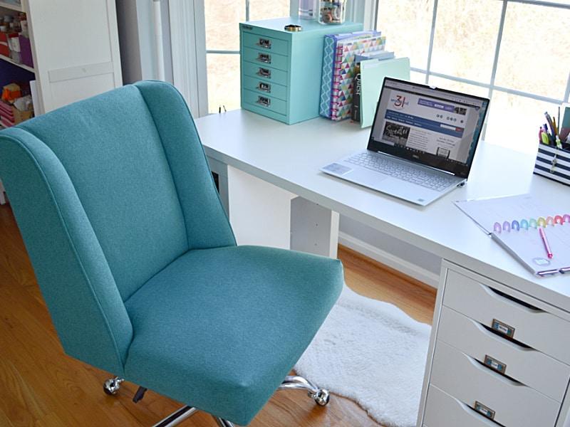 blue desk chair by white modern desk