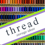 rows of colorful thread with text overlay