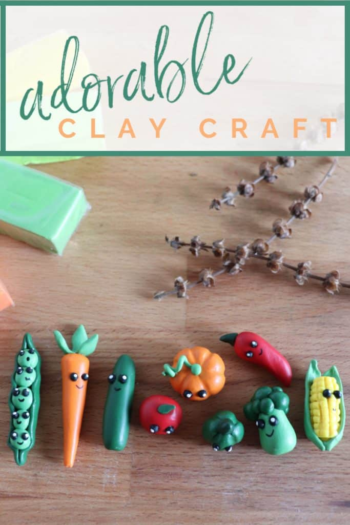 9 colorful kawaii clay vegetable characters on wood table with blocks of clay and branches in background with title text overlay reading Adorable Clay Craft