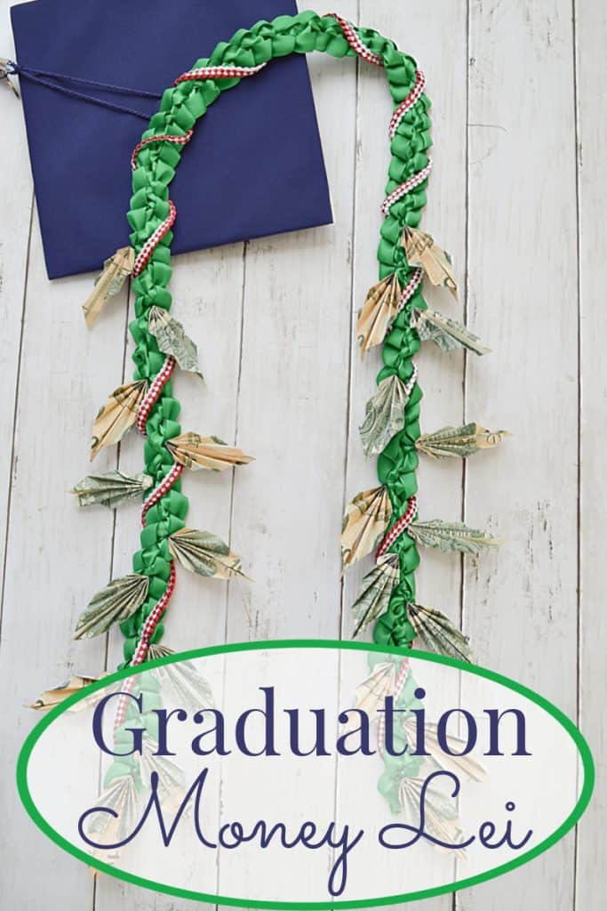money lei and graduation cap with title text overlay reading Graduation Money Lei