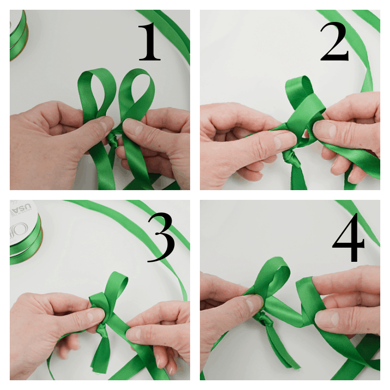4 images of hands tying green ribbon