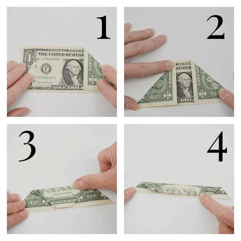 4 steps of folding dollar bill