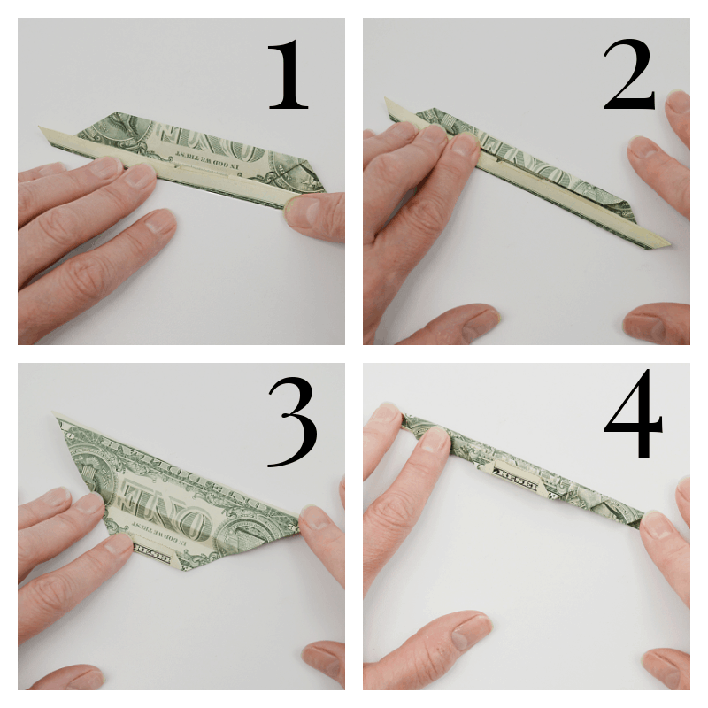 collage of hands folding dollar bill into origami leaf