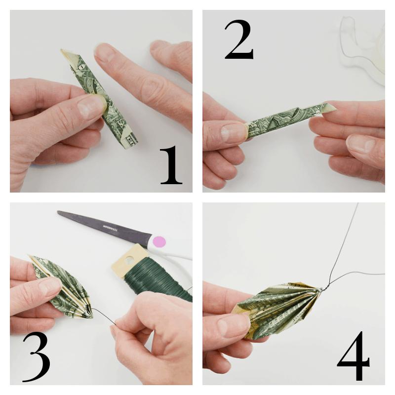 4 images of hands completing origami money leaf