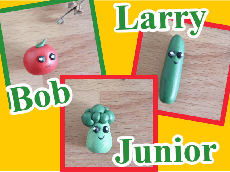 close up collage of 3 small clay vegetables with faces with text reading Larry, Bob, Junior
