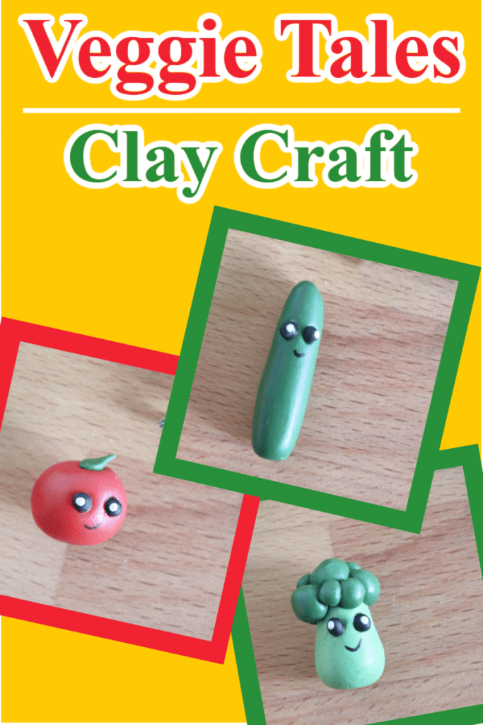 collage of small cute clay vegetables with title text reading Veggie Tales Clay Craft