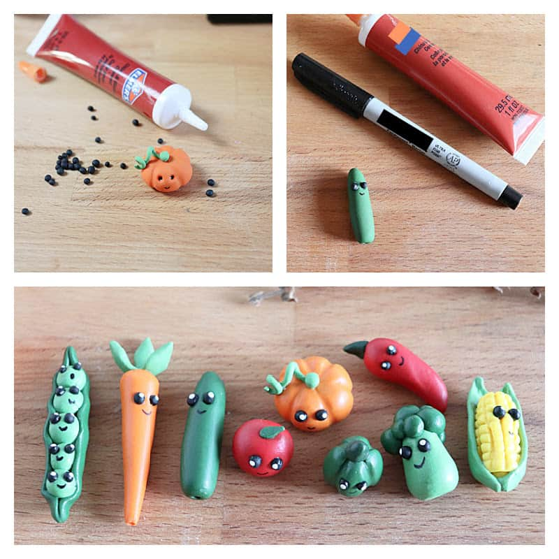 3 images of steps to add faces to clay veggie characters